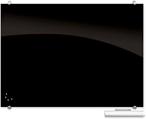 Best-Rite Visionary Black Magnetic Glass Dry Erase Whiteboard, 3x4 Feet, 1/8