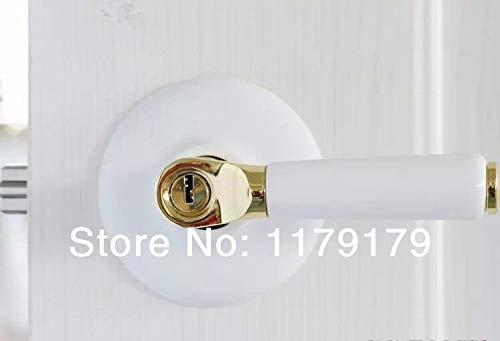 Door Lock, Interior Door Lock Ceramic and 304 Stainless Door Lock, European Countryside Door Lock, Simple Style Gate Lock 07Sbtz