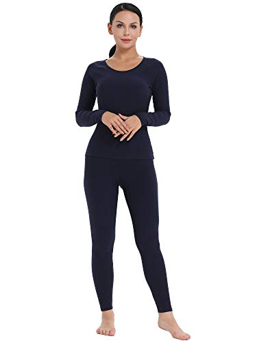 Amorbella Women's Long Thermal Underwear Snow Shirt and Leggings for Cold weather (Navy, XL)
