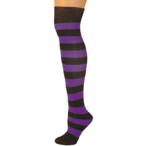 - AJs Knee High Striped Socks - Black/Purple