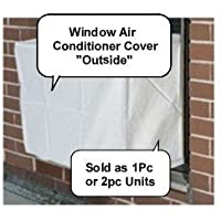 Window air conditioner covers - 2pc SET Outside / Inside Covers - 28w, 20h, 20d and 28w, 20h, 4d - White