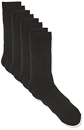 Rio Men's Cotton Blend Active Crew Socks (4 Pack), Black, 6-10