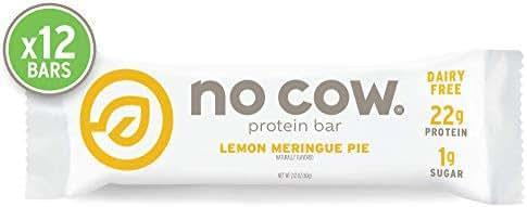 No Cow Protein bar, Lemon Meringue Pie, 22g Plant Based Protein, Keto Friendly, Low Sugar, Dairy Free, Gluten Free, Vegan, High Fiber, Non-GMO, 12Count