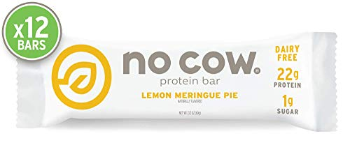 No Cow Protein bar, Lemon Meringue Pie, 22g Plant Based Protein, Keto Friendly, Low Sugar, Dairy Free, Gluten Free, Vegan, High Fiber, Non-GMO, 12Count