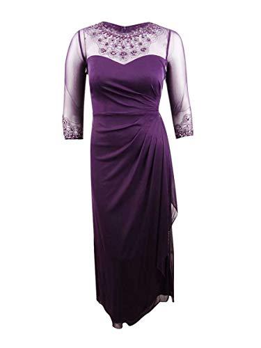 Alex Evenings Women's Long A-Line Sweetheart Neck Dress (Petite and Regular Sizes), Plum, 12P