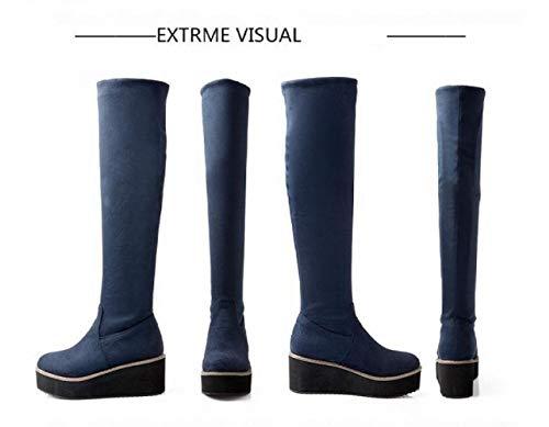 Pour Avancé En Bottes D'hiver Xdx Mat Cuir 43 34 Coton Genou Chaussures Chaudes Femmes Bleu Élastiques Au dWfxq4xTnX