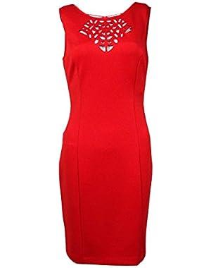 Guess Women's 'Nisella' Laser-Cut V-Back Scuba Sheath Dress