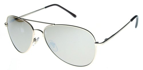 - Fiore(TM) Aviator Sunglasses Classic Look Silver Chrome Lens and Gold Frame w/Spring Hinges