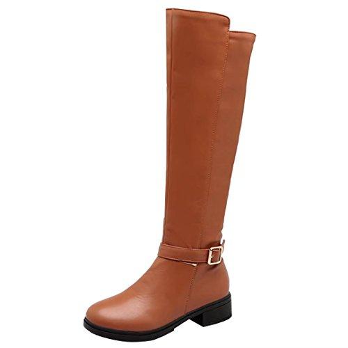 AIYOUMEI Damen Herbst Winter Blockabsatz Kniehohe Stiefel mit 3cm Absatz und Reißverschluss Freizeit Stiefel fQ4rSO1qx5