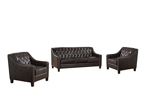 Coja by Sofa4life Jackson Leather Sofa and Two Chairs Set, Brown