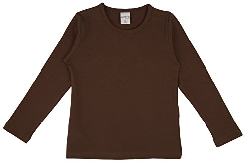 Lovetti Girls' Basic Long Sleeve Round Neck T-Shirt 3T Brown]()