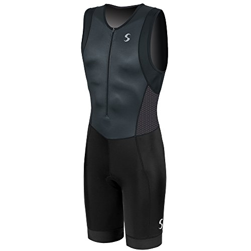 (Synergy Men's Triathlon Trisuit (Charcoal/Black, Large))