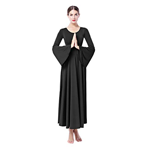 Women Long Bell Sleeve Liturgical Praise Dance Dress Solid Casual Flare Full Length Loose Fit Pleat Maxi Worship Gown Black M