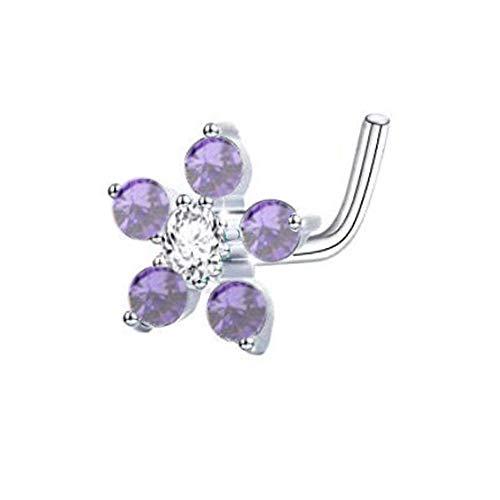 20G Sterling Silver Tiny 6-CZ Flower Nose Stud L Shape Ring (Amethyst) -