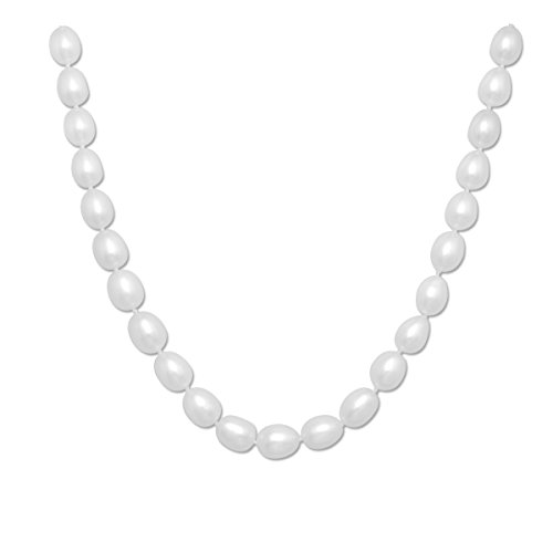 Rice Freshwater Cultured Pearl Necklace with Rose Sterling Silver Clasp(8.5-9mm),16'' by Lumin Plus LLC