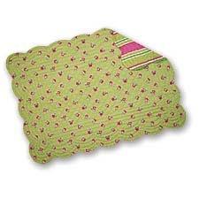C&F Home Set of 4 Pcs, 13x19 Inches Quilted Scallop Edge Reversible Placemats, St. Tropez, Green Mini Floral/Stripe (Tropez Stripe)