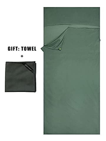 Emins Outdoor Silk Sleeping Bag Liner Single Compact NaturalSleepsack Rectangle Sheet Liner with One Towel, Green