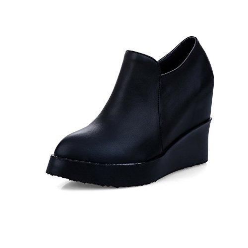 AllhqFashion Damen Weiches Material Rund Zehe Hoher Absatz Reißverschluss Rein Pumps Schuhe Schwarz