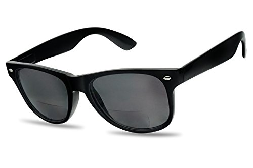 Black Wayfarer Sunglasses with Rx Magnification +200 Positive Strength Prescription Eye Glasses (Bifocal Reading Sunglasses)