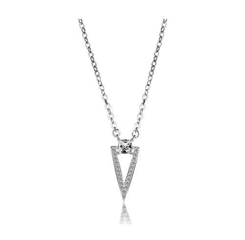 nacklcema Simple Temperament Square Circle Geometry Triangle Princess Square Diamond Studded Short Necklace Clavicle Chain Gift Female