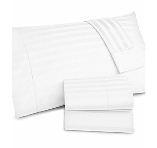 Charter Club Damask Stripe 500 Thread Count Queen Sheet Set White