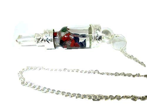 Jet Mix Chakra Bottle Shaped Pendulum Water Vial Top Quality A++ Jet International Crystal Therapy Booklet Gemstone Chakra Balancing Healing Energy Divine Spiritual Image is JUST A Reference