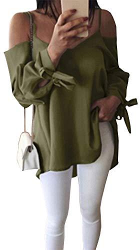 T Camicia Camicetta Lunghe Maniche Yeesea Allentate a Casual Shirt Donna Elegante Tops Verde Blusa w05q77g8