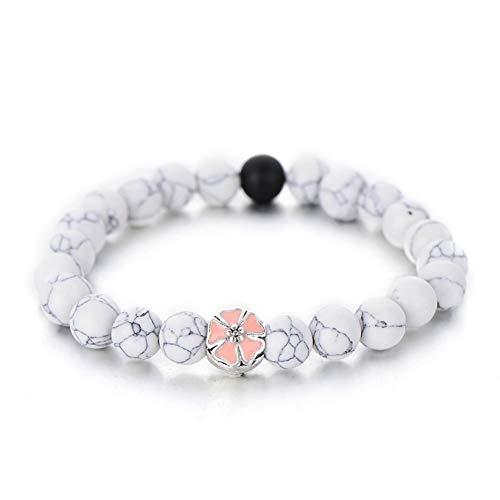 SLMCLUB Trendy White Black Color Simple Strand Bracelets for Women Cute Pink Enamel Flower Beaded Bracelet Friendship Gifts