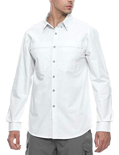 Oxford Relaxed Fit Oxford Shirt - TOPSUN Men's Casual Relaxed Button Down Long Sleeve Cotton Oxford Shirt,Wrinkle Free White Size M