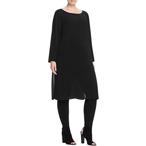 Eileen Fisher Womens Plus Bateau Silk Side Slits Casual Dress Black 1X by Eileen Fisher