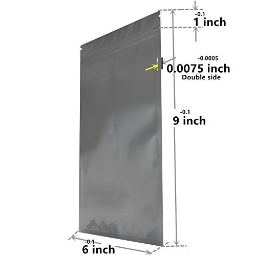 Smell Proof Bags (50 Pack) Resealable Mylar Aluminum Packaging Storage Bag 6 x 9 inch Transparent Plastic Ziplock Heat Seal (SILVER)