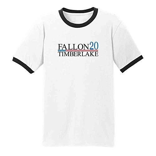 Pop Threads Fallon Timberlake 2016 Presidential Election Funny White/Black 2XL Ringer T-Shirt