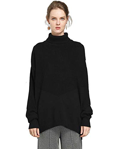 FINCATI Women's Sweater Pullover Turtleneck Cashmere Wool Soft Cozy Ribbed Elbow Oversized Long Sweaters Tunic (B-Black, One Size)
