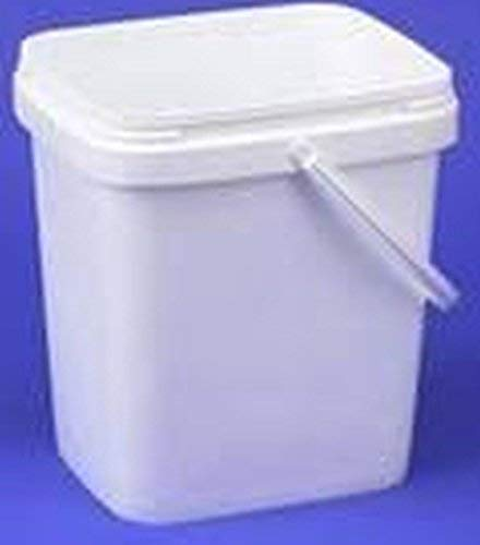 Square Plastic Buckets - 3.5 gal Square Plastic Buckets and lid,w/Handle,Ez Stor, 6 Pack