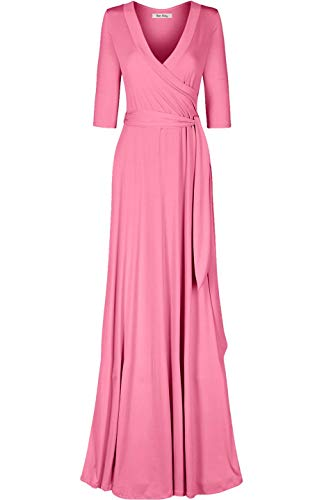 Bon Rosy Women's MadeInUSA 3/4 Sleeve Deep V-Neck Maxi Faux Wrap Dress Summer Wedding Guest Party Bridal Baby Shower Maternity Nursing Pink S