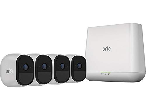 (Arlo Pro 2 VMS4430P-100NAR Wireless Home Security Camera System with Siren, Rechargeable, Night Vision, Indoor/Outdoor, 1080p, 2-Way Audio, Wall Mount, 4 Camera Kit, White (Renewed))