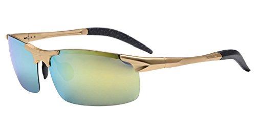 Men's Half Frame Glasses, Aluminum Magnesium Polarized Outdoor Riding Sunglasses, Night Vision Sunglasses 015Gold Framed gold - Prism Sale Sunglasses
