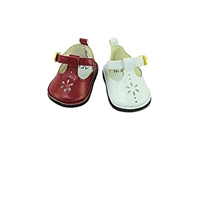 #17 2 Pack of Mary Janes with Buckle: Burgundy and White-Fits 18