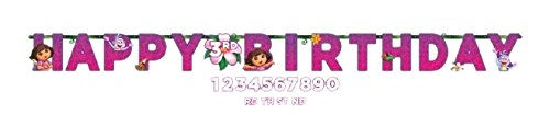 Amscan Quirky Dora's Flower Adventure Jumbo Add-An-Age Letter Birthday Party Banner (1 Piece), Pink/Violet, 10 1/2' x -