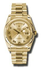 Rolex Day-Date Automatic Champagne Roman Dial President Men's Watch #118238CRP