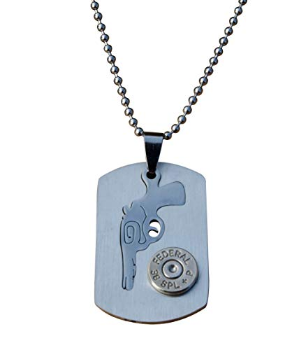 Stainless Steel Dog Tag with Revolver and Nickel 38 Caliber Bullet. N302