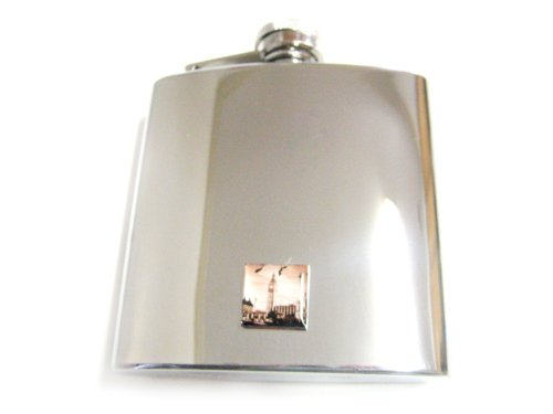 6 Oz. Stainless Steel Flask with London Ben Tower Pendant