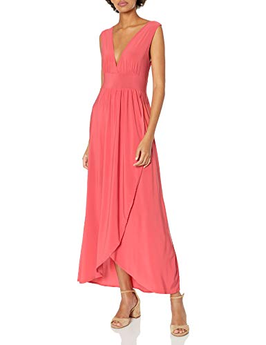 Star Vixen Women's Sleeveless Surplice Tulip Skirt Empire Band Maxi Dress, Coral, X-Large