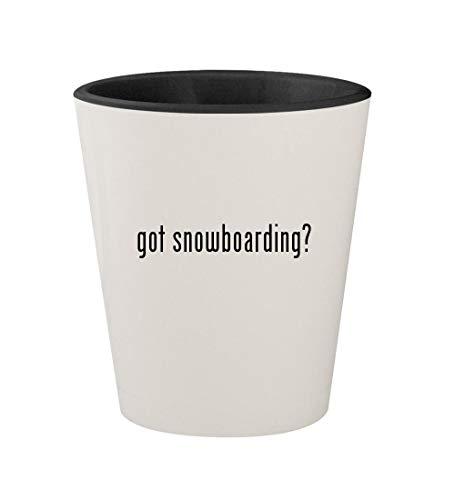 Snowboarding Black Got (got snowboarding? - Ceramic White Outer & Black Inner 1.5oz Shot Glass)