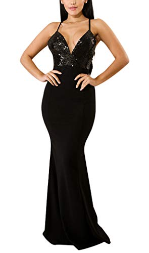 Women's Mermaid Semi Formal Dresses - Elegant Spaghetti Strap Sequin Long Evening Ball Gowns Small Black