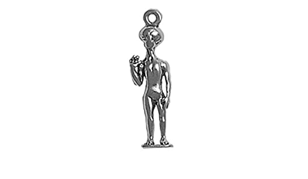 Sterling Silver Girls .8mm Box Chain 3D Standing Alien Pendant Necklace