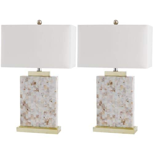 Safavieh Lighting Collection Tory Ivory Shell 25-inch Table Lamp (Set of 2) ()