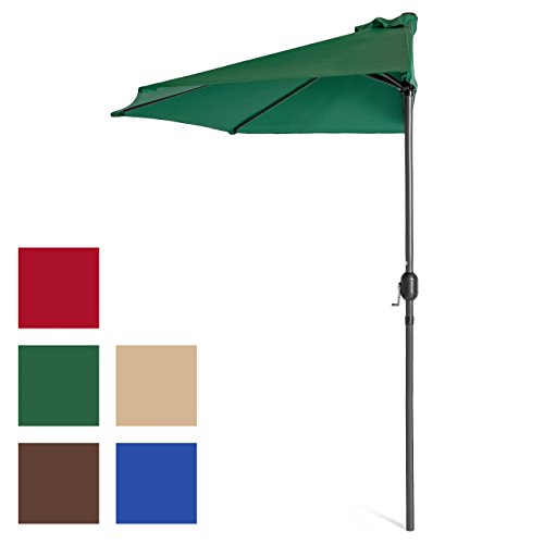 Best Choice Products 9ft Steel Half Patio Umbrella w/Crank – Green