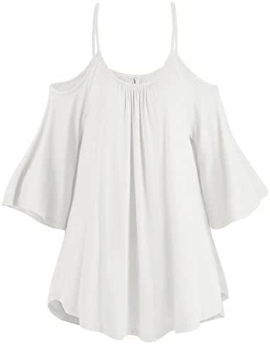 LouKeith Womens Plus Size Short Sleeve Cold Shoulder Crew Neck Loose Tops Shirt