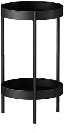 屋外フラワースタンド フラワースタンド 金属 植木鉢ホルダー 2層あり 屋内 植物スタンド アウトドア フラワーディスプレイラック、3色 XJMSB (Color : Black, Size : 60CM)